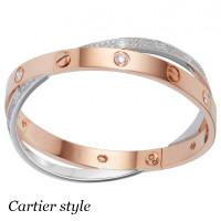 Браслет Cartier Love, белое, розовое золото, бриллианты