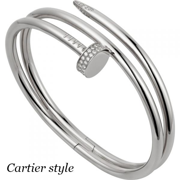 Браслет Cartier Juste Un Clou, белое золото, бриллианты
