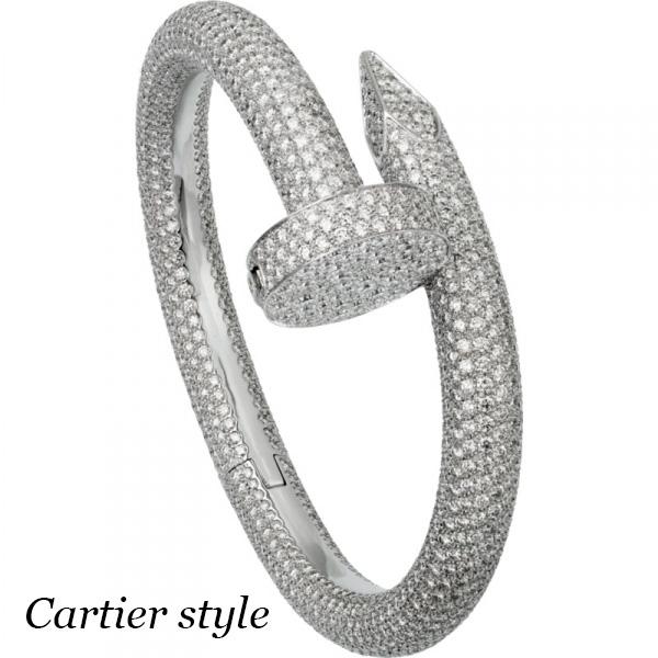 Браслет Cartier Juste un Clou, белое золото 750, бриллианты