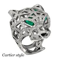 Кольцо Panthere de Cartier, белое золото, бриллианты, изумруды