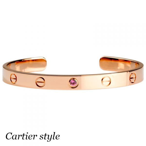 Браслет Cartier Love, розовое золото 18К, розовый сапфир