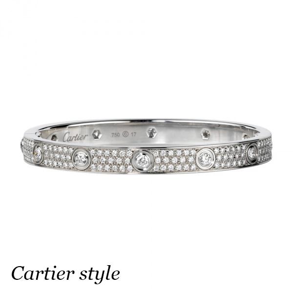 Браслет Cartier Love, белое золото 18К, бриллианты