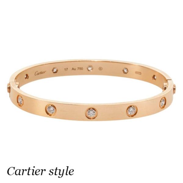 Браслет Cartier Love, розовое золото 18К, бриллианты