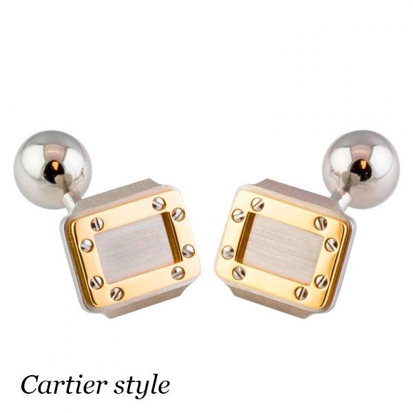 Запонки Cartier Santos, желтое золото 18К, нержавеющая сталь