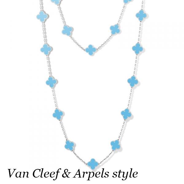 Колье Van Cleef & Arpels Alhambra, белое золото, бирюза