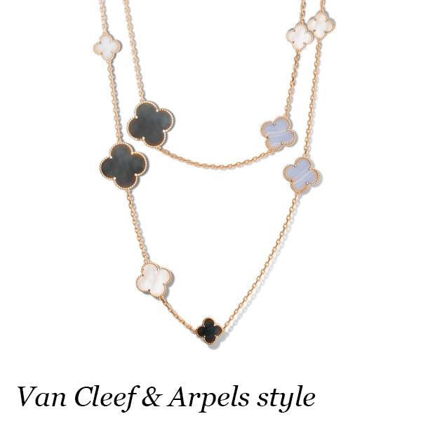 Ожерелье Van Cleef & Arpels Alhambra, желтое золото, оникс, перламутр