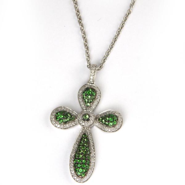 Крестик Crivelli, белое золото, бриллианты, изумруды