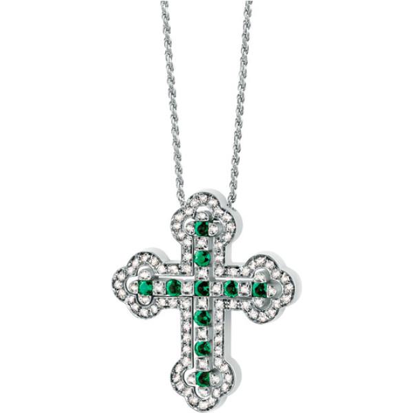 Крестик Damiani, белое золото, бриллианты, изумруды