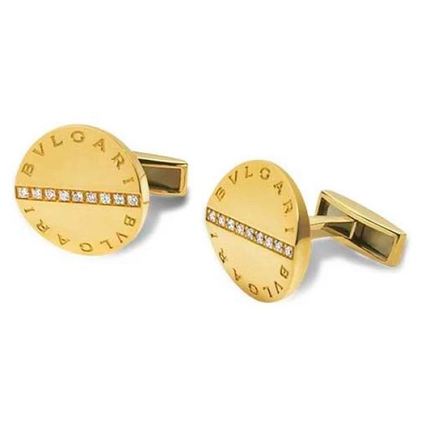Запонки Bvlgari, желтое золото, бриллианты