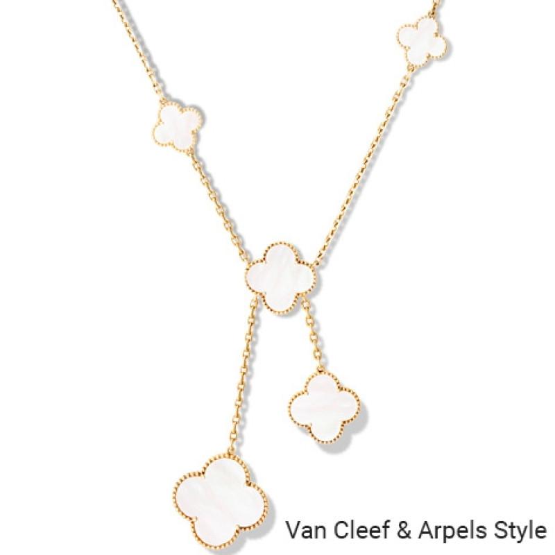 Колье в стиле Van Cleef & Arpels Magic Alhambra, желтое золото, перламутр