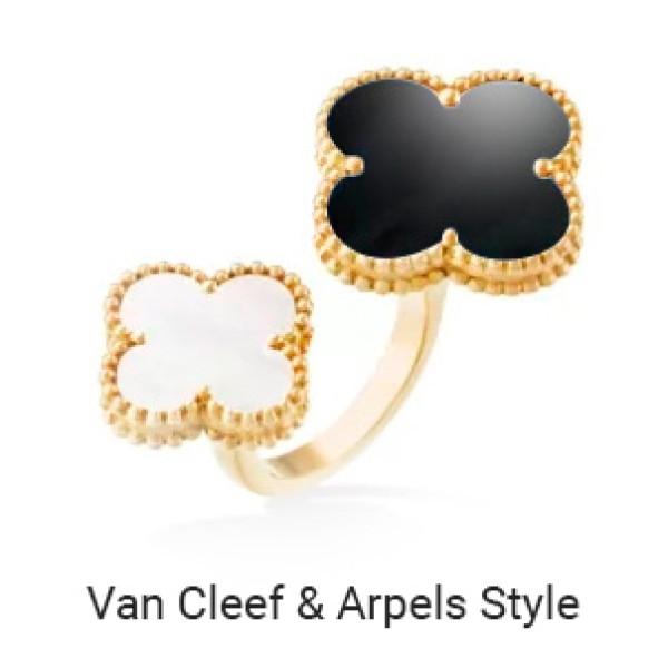 Кольцо в стиле Van Cleef & Arpels Alhambra, желтое золото, оникс, перламутр
