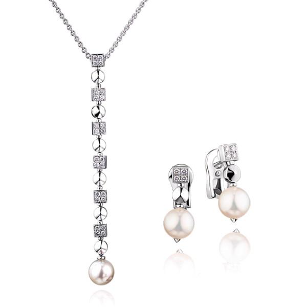 Набор Bvlgari Lucea, белое золото, бриллианты, жемчуг