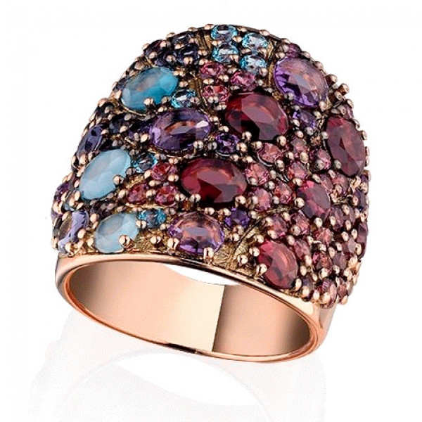 Кольцо Pasquale Bruni Mandala, розовое золото, драгоценные камни
