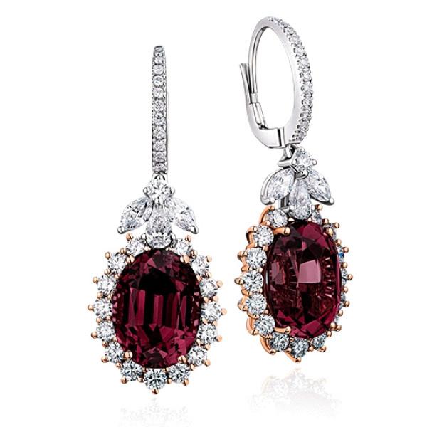 Серьги Verdi Jewellery, белое, розовое золото, бриллианты, гранат