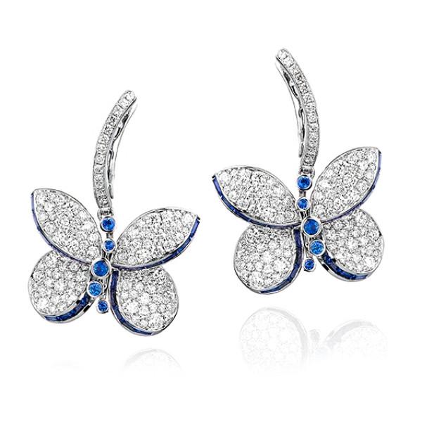 Серьги Graff Baby Princess Butterfly, белое золото, бриллианты, сапфиры