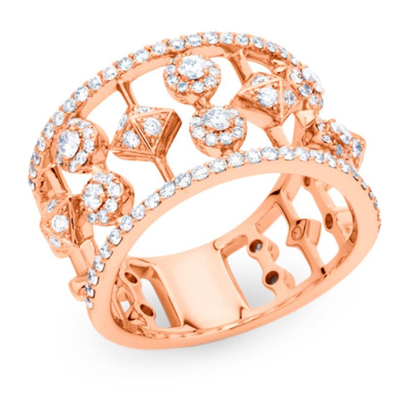 Кольцо, Marli Designs, розовое золото, бриллианты