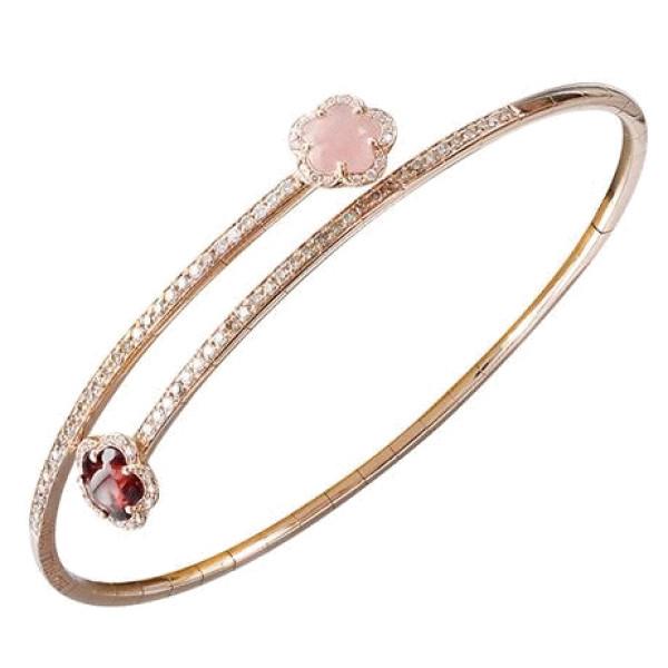 Браслет Pasquale Bruni Figlia Dei Fiori, розовое золото, бриллианты, халцедон, гранат
