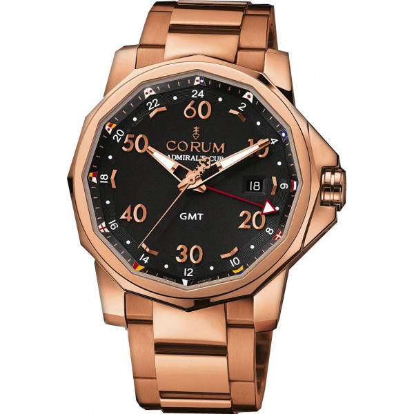 Corum watches Admiral`s Cup GMT 44  All Red Gold Black Dial