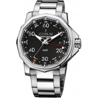 Corum watches Admiral`s Cup GMT 44 Steel Dial Black