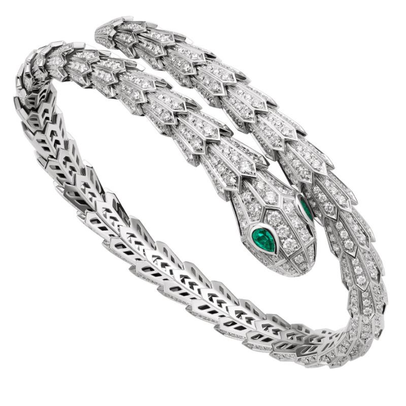 Браслет Bvlgari Serpenti, белое золото, бриллианты, изумруды