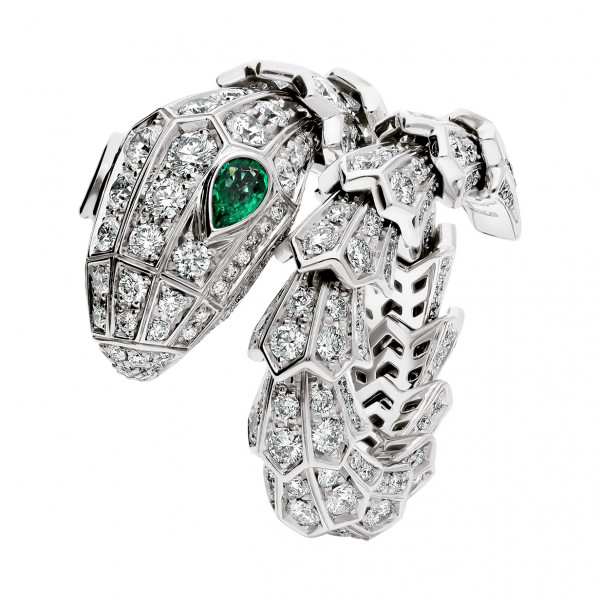 Кольцо Bvlgari Serpenti, белое золото, бриллианты, изумруды