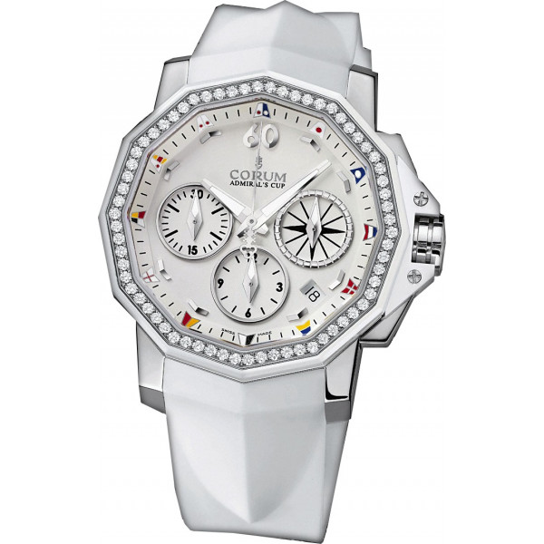 Corum watches Admiral Cup Chronograph 40 diamonds Steel White