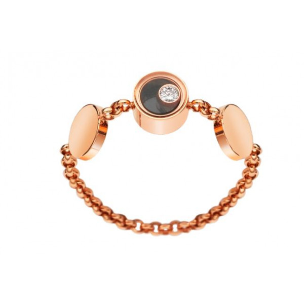 Chopard Happy Darling 18K Rose Gold Diamond Onyx Bracelet