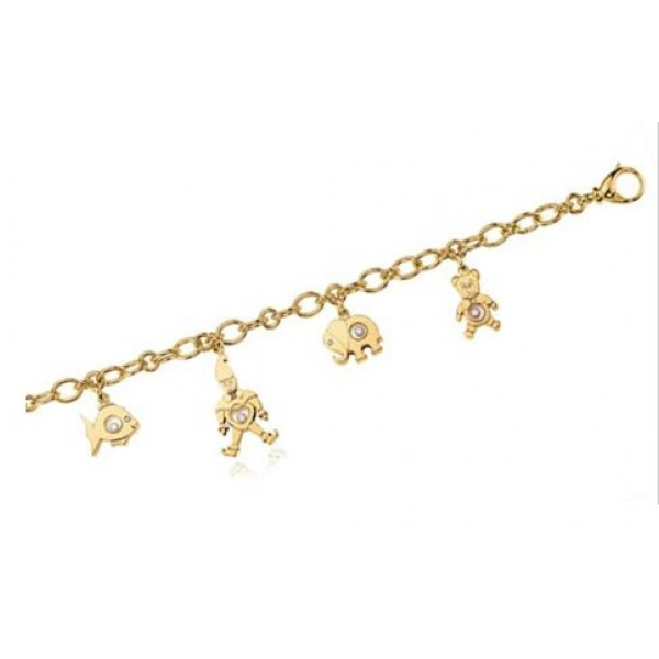 Chopard Happy Diamonds Charms 18K Yellow Gold Floating Diamonds Charm Bracelet