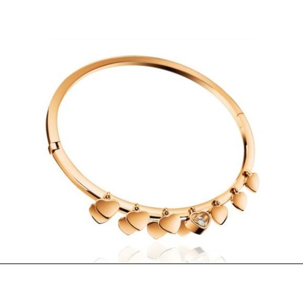 Chopard Happy Diamonds Hearts 18K Rose Gold Floating Diamond Bangle Bracelet