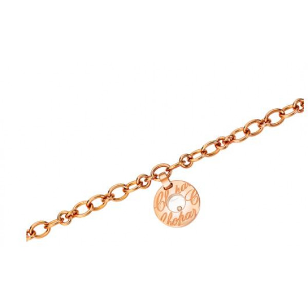 Chopard Chopardissimo 18K Rose Gold Floating Diamond Circular Charm Bracelet