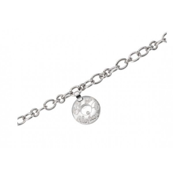 Chopard Chopardissimo 18K White Gold Diamond and Floating Diamond Circular Charm Bracelet