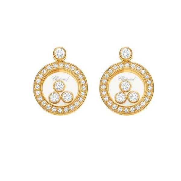Chopard Happy Diamonds Round 18K Yellow Gold Diamond and Floating Diamond Earrings