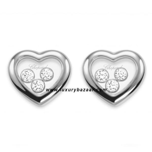 Chopard Happy Diamonds Heart 3 Floating Diamonds White Gold Earrings