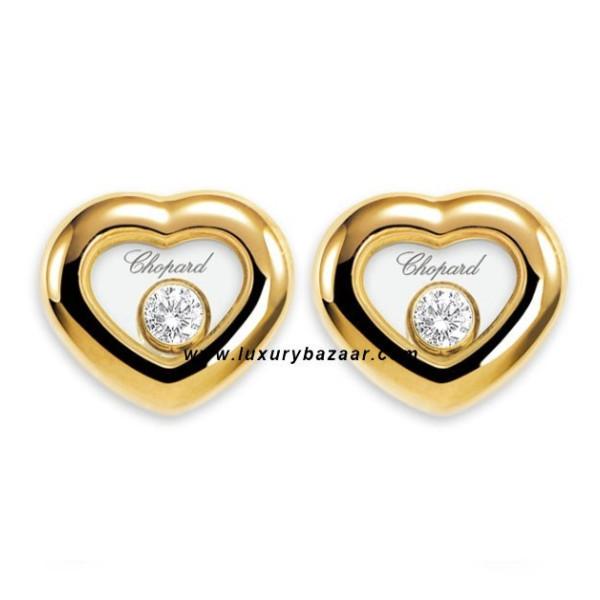 Chopard Happy Diamonds Heart Floating Diamond Yellow Gold Earrings