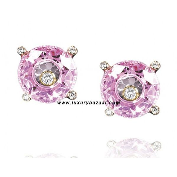 Chopard So Happy Pink Stone Floating Diamond Yellow Gold Earrings