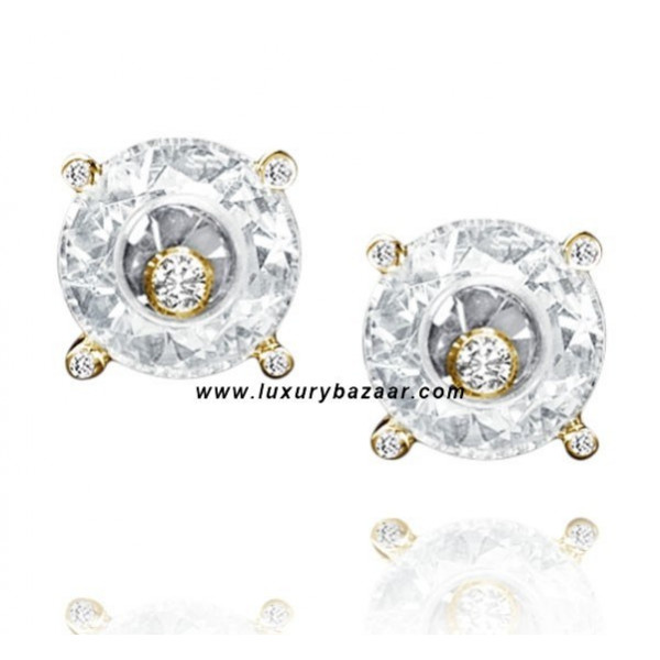 Chopard So Happy White Stone Floating Diamond Yellow Gold Earrings