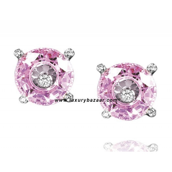 Chopard So Happy Pink Stone Floating Diamond White Gold Earrings