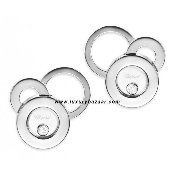 Chopard Happy Diamonds Circles Floating Diamond White Gold Earrings