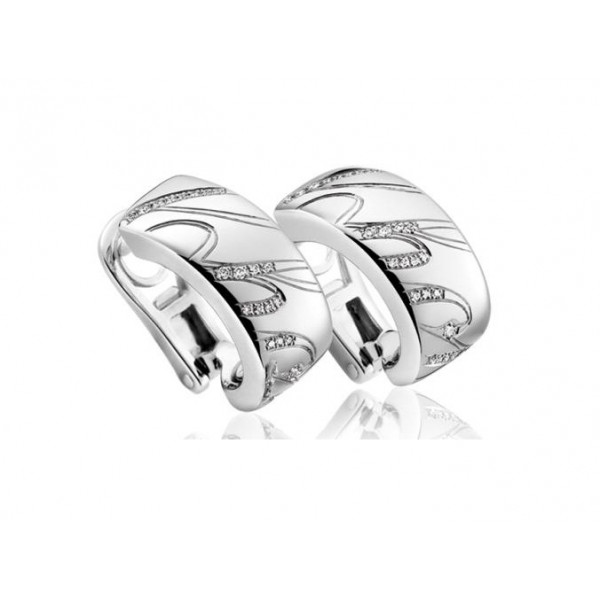 Chopard Chopardissimo 18K White Gold Diamond Hoop Earrings