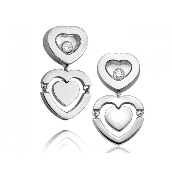 Chopard Happy Amore Hearts 18K White Gold Earrings