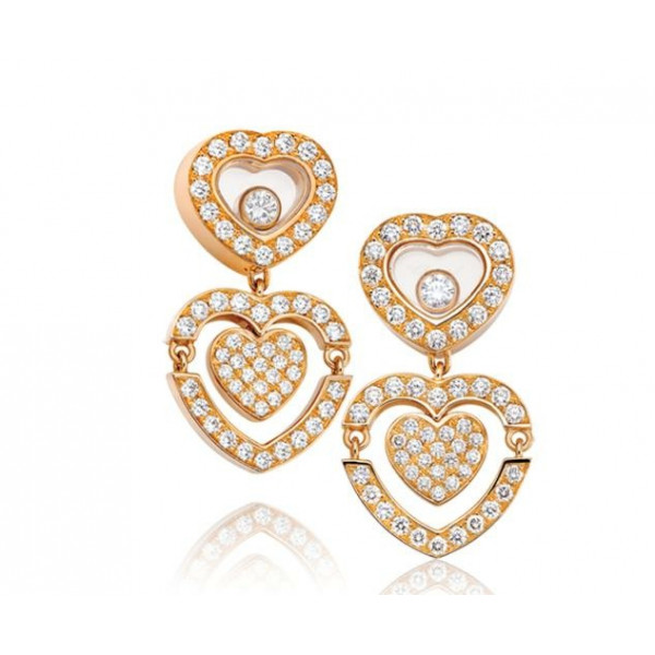 Chopard Happy Amore Hearts 18K Rose Gold Diamond Earrings
