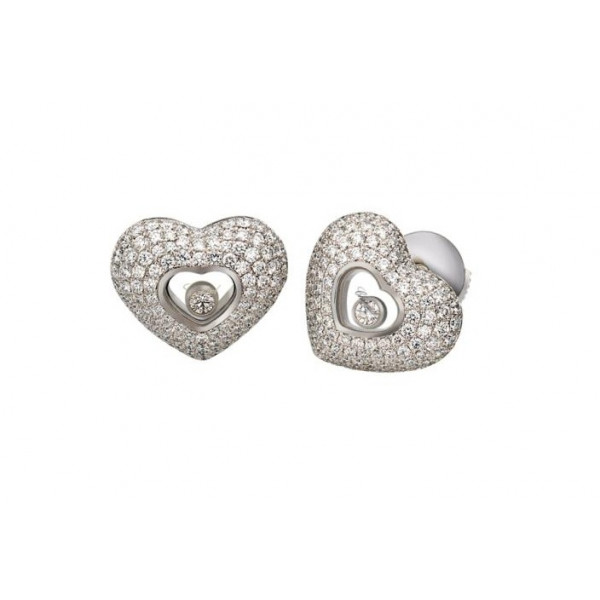 Chopard Happy Diamonds Hearts 18K White Gold 4 Row Diamond Earrings