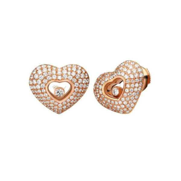 Chopard Happy Diamonds Hearts 18K Rose Gold 4 Row Diamond Earrings