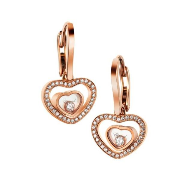Chopard Happy Diamonds Hearts 18K Rose Gold Diamond Earrings
