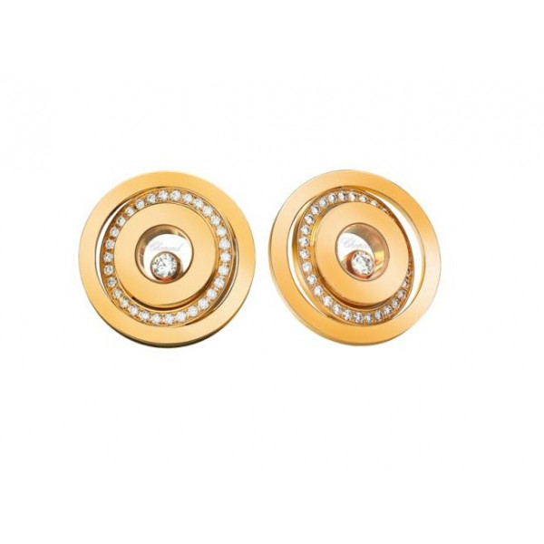 Chopard Happy Spirit 2 Circles 18K Yellow Gold and Diamonds Floating Diamond Earrings
