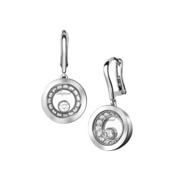 Chopard Happy Diamonds 1 Floating Diamond 18K White Gold Diamond Earrings
