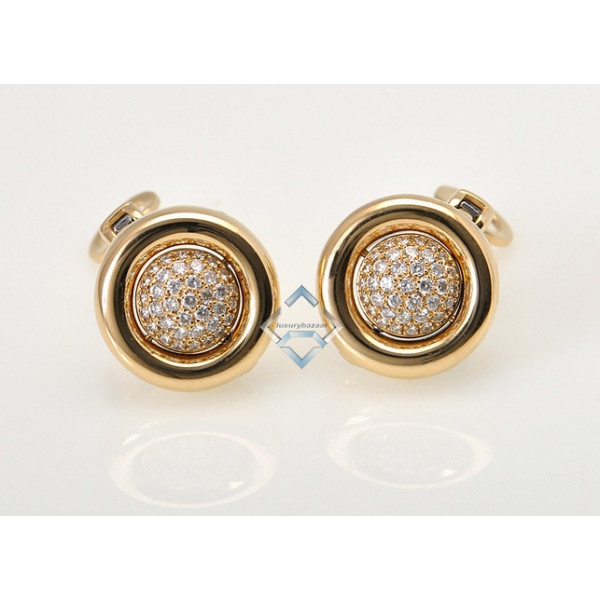 Chopard 18K Yellow White Gold Diamond Round Flip Earrings