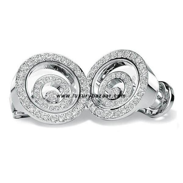 Chopard Happy Spirit Diamond Set Floating Ring Earrings White Gold