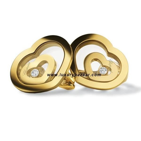 Chopard Happy Spirit Heart Earrings Yellow Gold 1 Floating Diamond