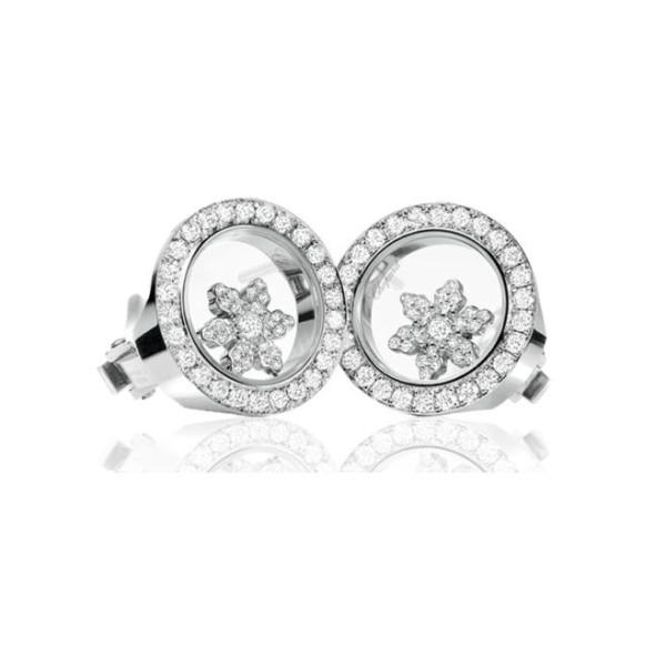 Chopard Happy Diamonds Snowflake 18K White Gold Diamond Earrings